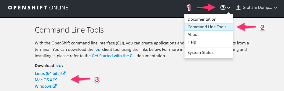 Where can I download the OpenShift command line tool? · OpenShift